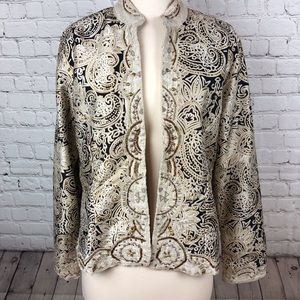 Chico Silk Jacket Blk Wht and Gold Sz 1(M/8)